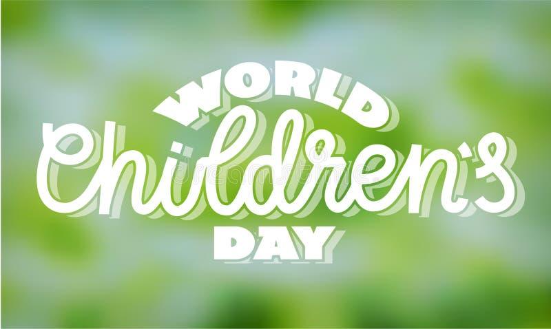 De dag van wereldkinderen - tekst in hand-van letters voorziet stock illustratie