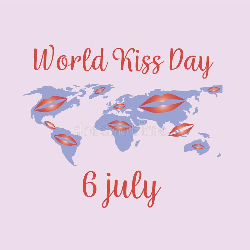 De dag van de wereldkus vakantie 6 Juli, concept Vector royalty-vrije illustratie
