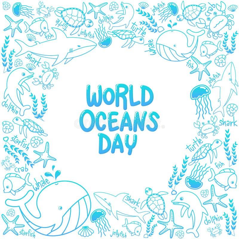 De dag van wereldoceanen overzichtsvector van het mariene leven in de oceaan met krabbelstijl voor viering specifiek helpen besch stock illustratie