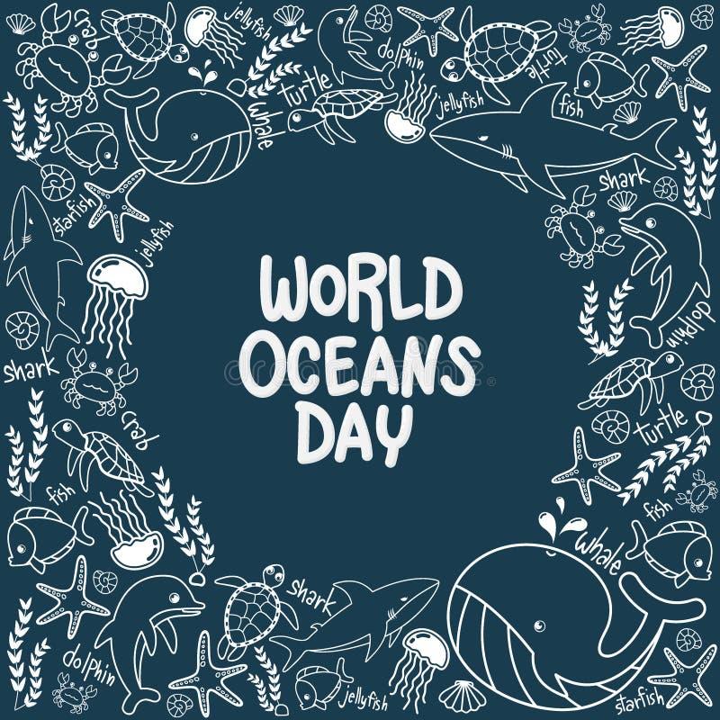 De dag van wereldoceanen overzichtsvector van het mariene leven in de oceaan met krabbelstijl voor viering specifiek helpen besch royalty-vrije illustratie