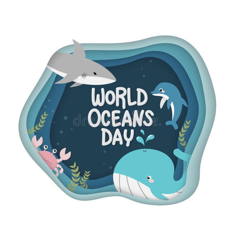De dag van wereldoceanen vector van het mariene leven voor viering specifiek helpen, wereldoceanen, water, ecosysteem beschermen  vector illustratie
