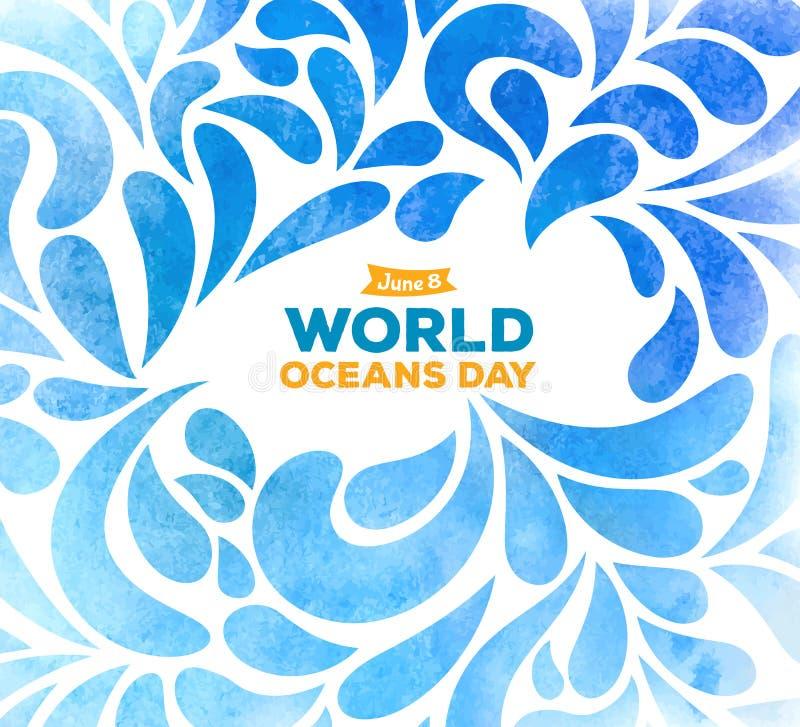 De dag van wereldoceanen De viering specifiek helpen, de oceanen van de wereld beschermen en behouden Abstracte getrokken hand al royalty-vrije stock foto's