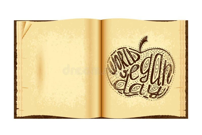 De dag van de wereldveganist Van letters voorzien met de hand gemaakt met de naam van de gebeurtenis in de appel wordt ingeschrev vector illustratie