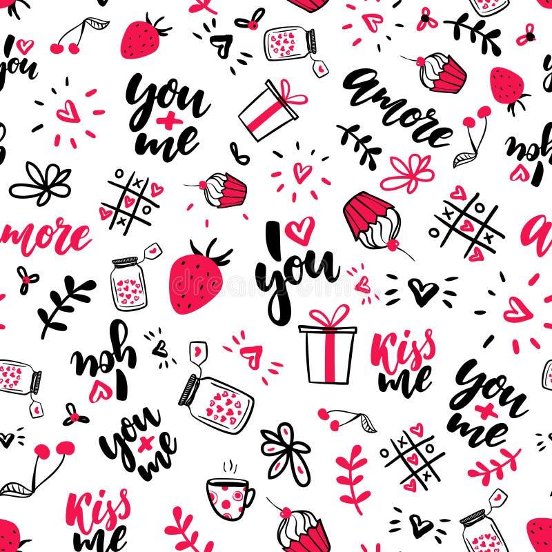 De Dag vector naadloos patroon van Valentine s Geïsoleerde Artistieke krabbeltekeningen, het van letters voorzien, liefdecitaten royalty-vrije illustratie