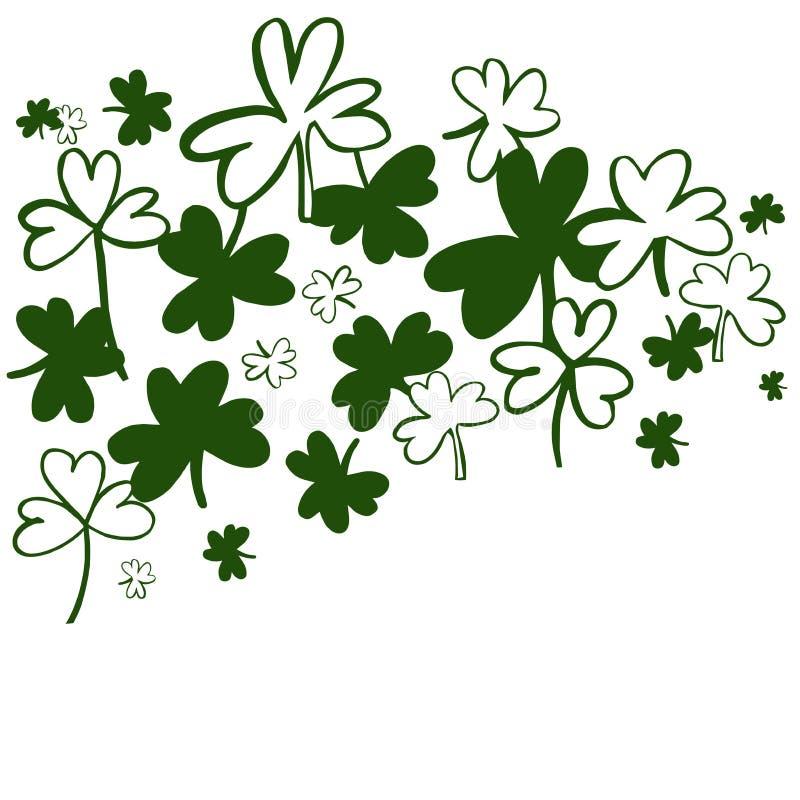 De Dag Vectorachtergrond van heilige Patrick met Groene Klaver royalty-vrije illustratie