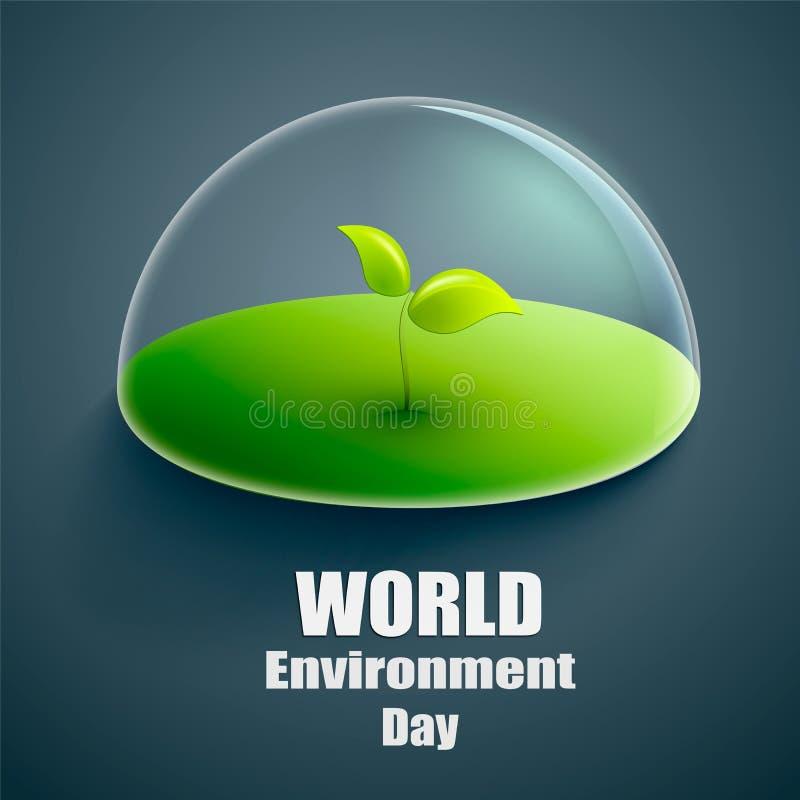 De dag vectoretiket of banner van het wereldmilieu Groene installatie onder de transparante glaskoepel Vector illustratie vector illustratie