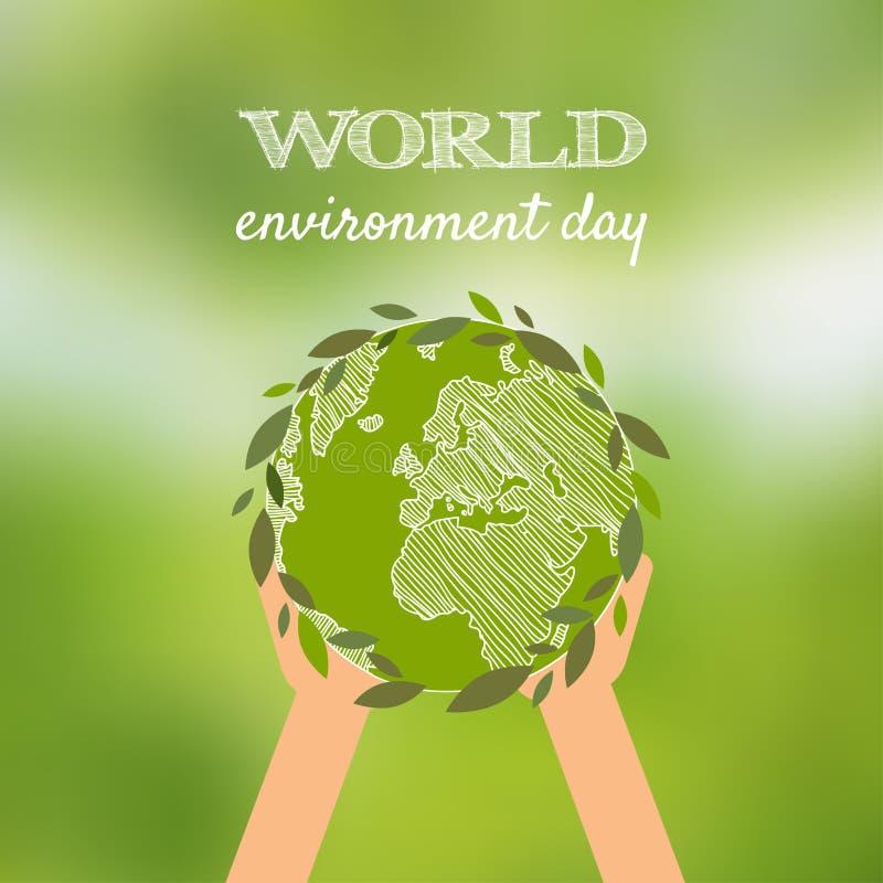 De dag vectorkaart van het wereldmilieu, affiche op onduidelijk beeld groene backgrou stock illustratie
