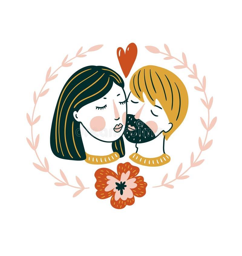 De Dag vectorkaart van Valentine ` S Mooie meisje en jongenskus in Skandinavische stijl Liefdedruk voor t-shirt stock illustratie