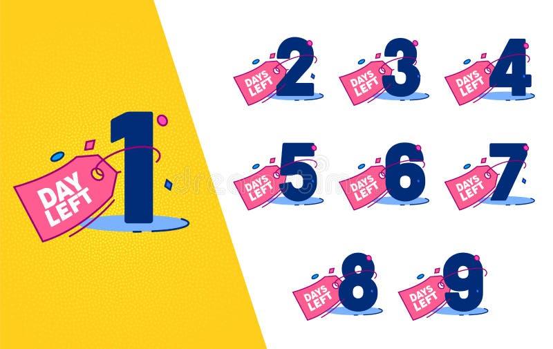 De dag verliet in tegenovergestelde richting de Reeks van het Etiketkenteken Het Elementenontwerp van de reclamepromo Sticker Het royalty-vrije illustratie