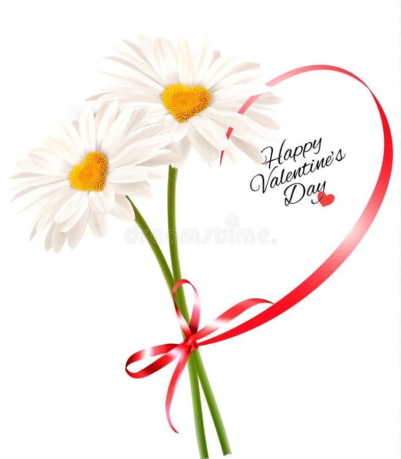 De Dagachtergrond Twee van Valentine ` s madeliefjes met hart gevormd lint vector illustratie