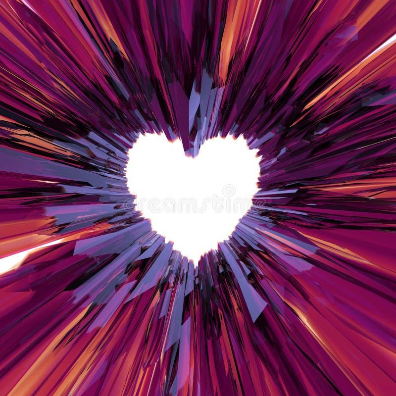 De dagachtergrond van abstract Valentine van het kristalhart stock illustratie