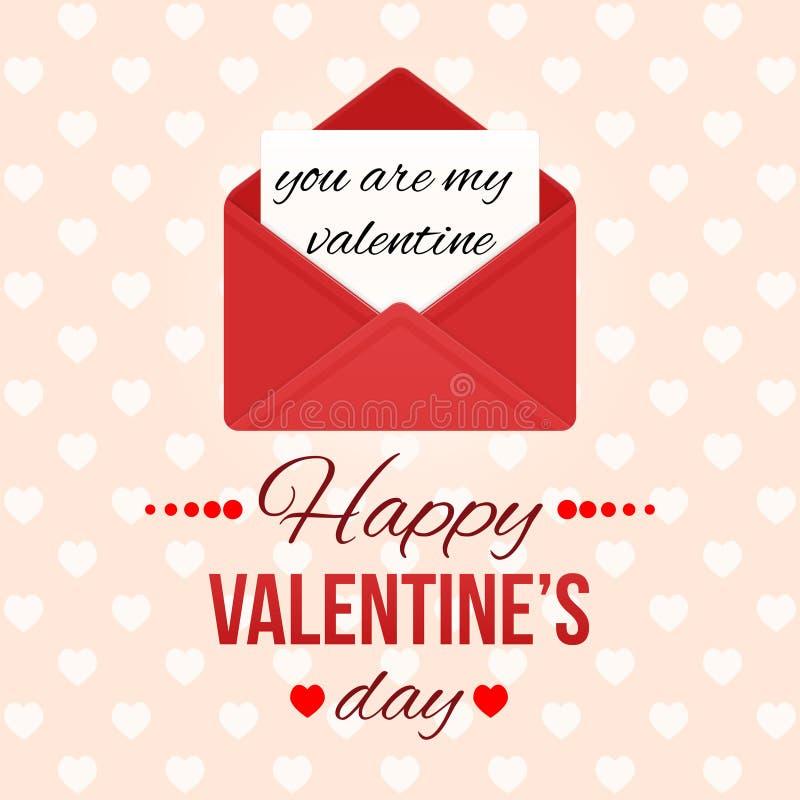 De dagachtergrond van de valentijnskaart `s met harten Houd van bericht Rode open envelop met brief Romantische de groetkaart van vector illustratie