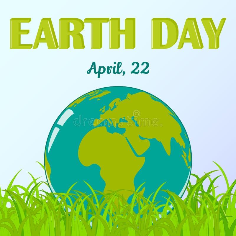 De Dagachtergrond van de wereldaarde met bol in gras in beeldverhaalstijl Milieu en Klimaatgeletterdheid Vector illustratie royalty-vrije illustratie