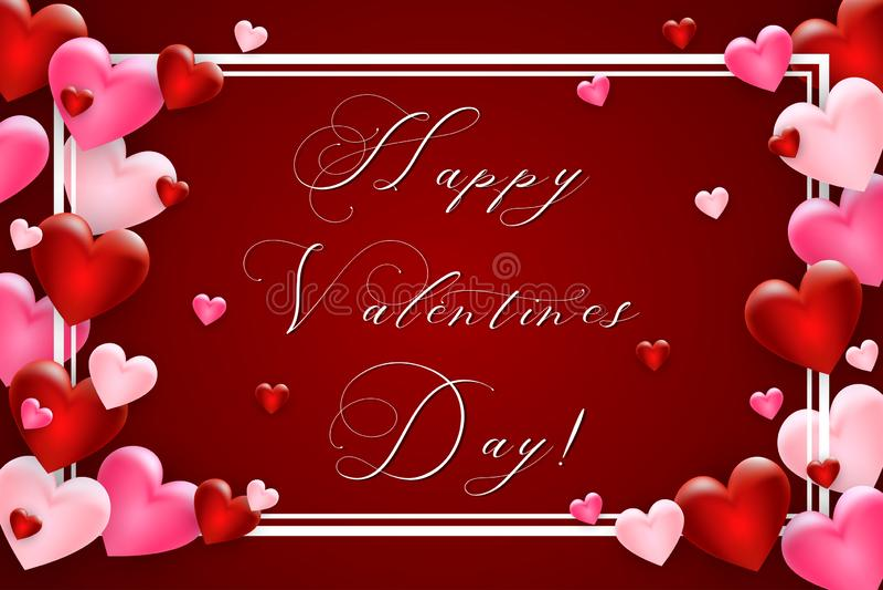De dagachtergrond van valentijnskaarten met hart Malplaatje voor de Dagontwerp van uw Valentine Vector royalty-vrije illustratie
