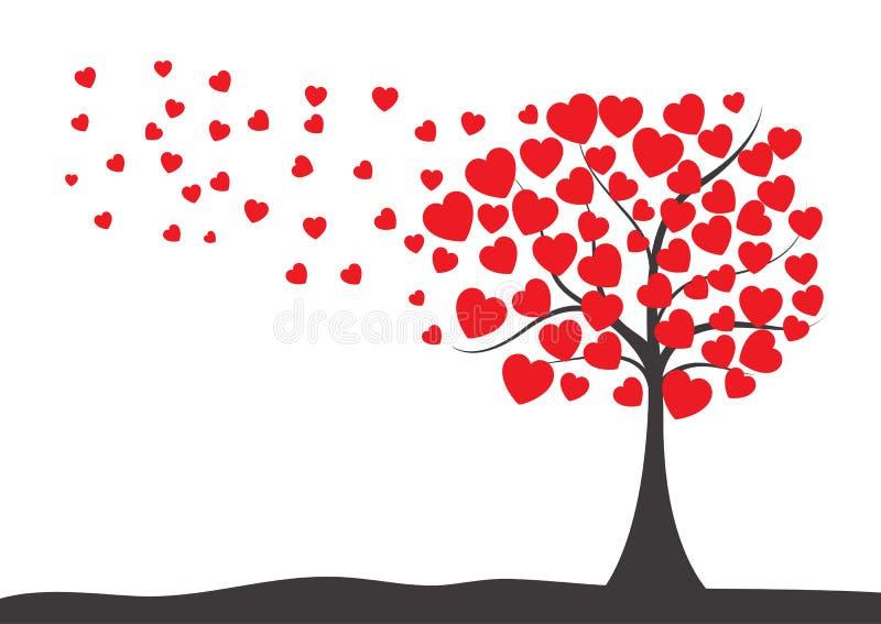 De Dagachtergrond van Valentine met boom van harten vector illustratie
