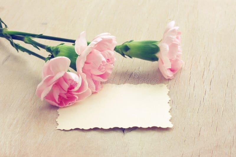 De Dagachtergrond van Valentine ` s, drie roze anjers, document spatie stock afbeelding