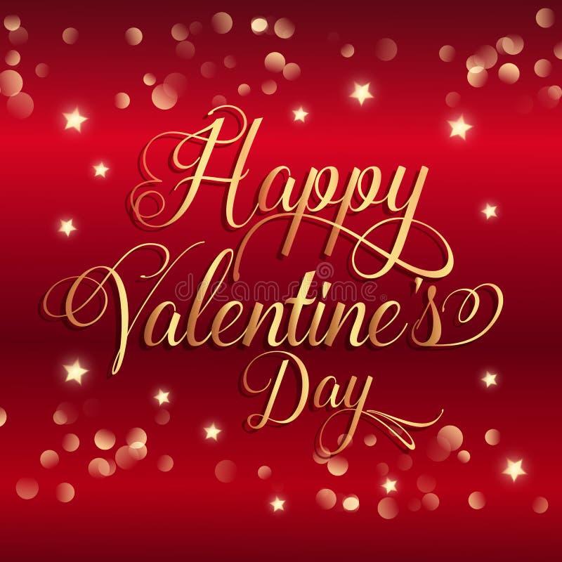 De dagachtergrond van Valentine ` s met gouden sterren en decoratieve teksten vector illustratie