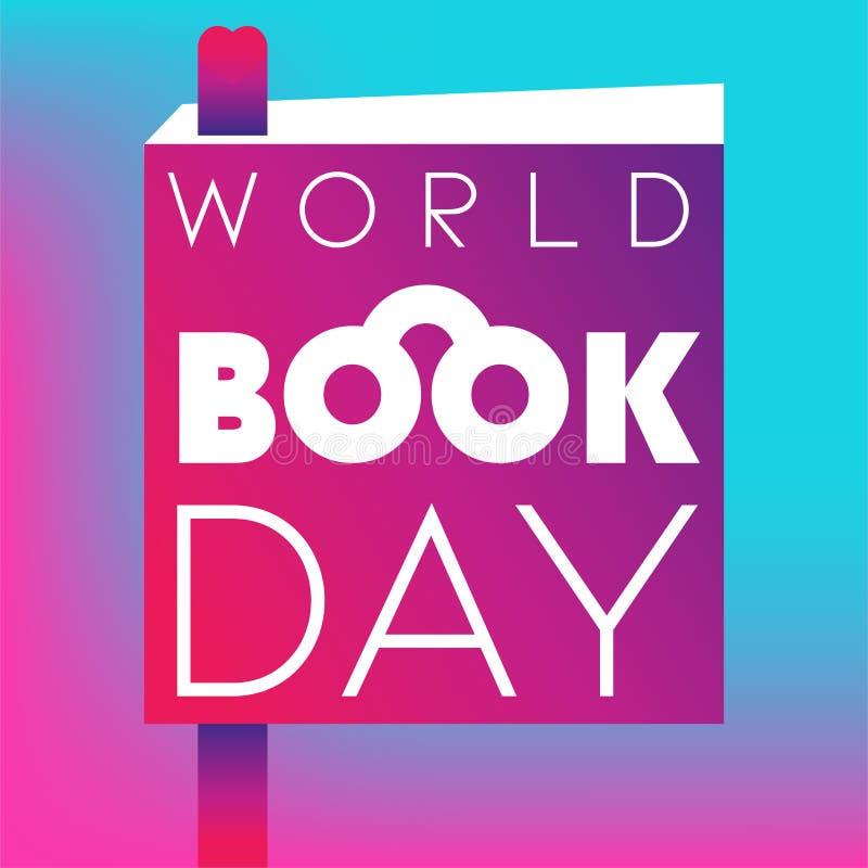 De Dagaffiche van het wereldboek met boek en referentie op de gradiënt royalty-vrije illustratie