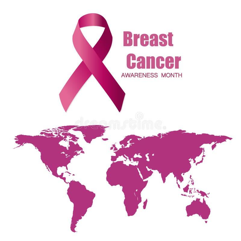 De dagaffiche van wereldkanker, wereldkaart en roze de illustratiemalplaatje van de lintbanner vector illustratie