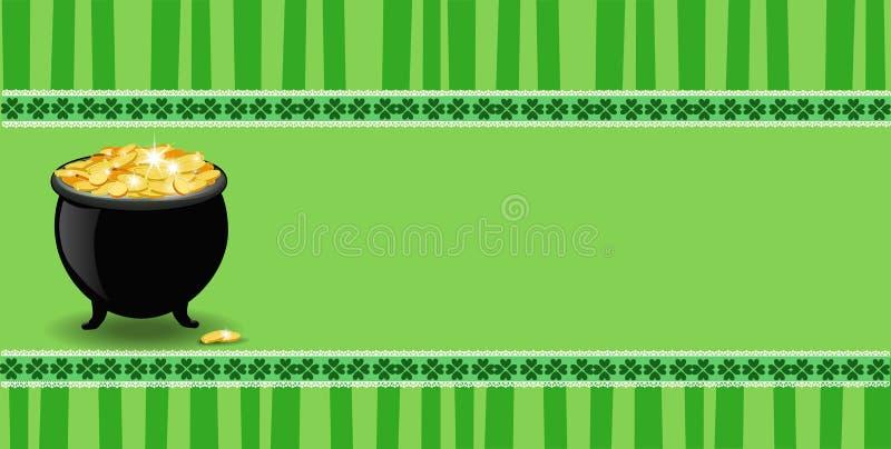 De Dagbanner van heilige Patrick ` s met klaverkant en kaboutersgoud royalty-vrije illustratie