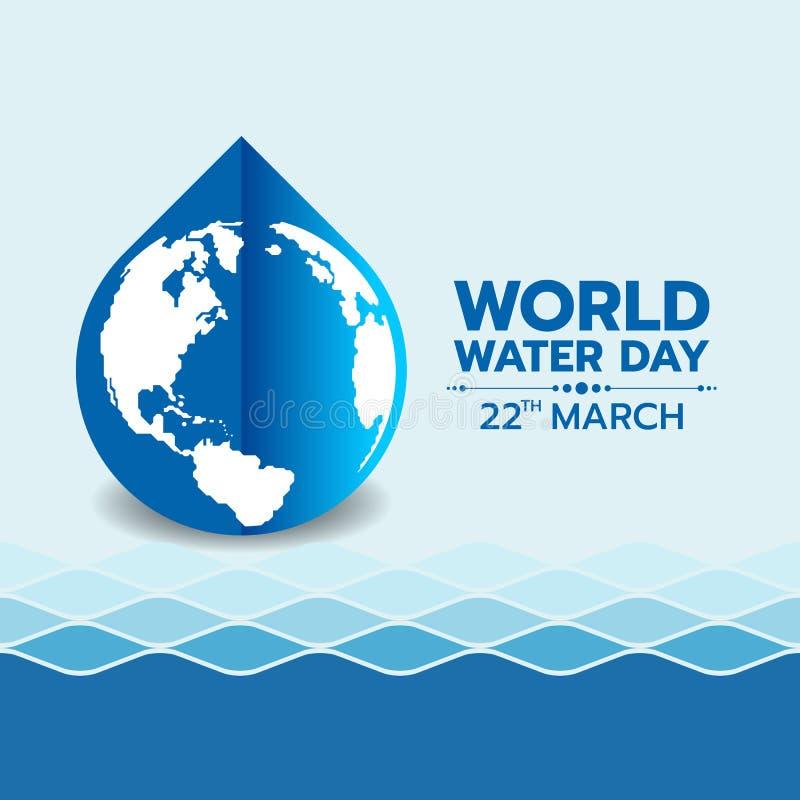 De dagbanner van het wereldwater met de kaart van de cirkelwereld in het blauwe teken van de waterdaling op de textuur van de wat vector illustratie