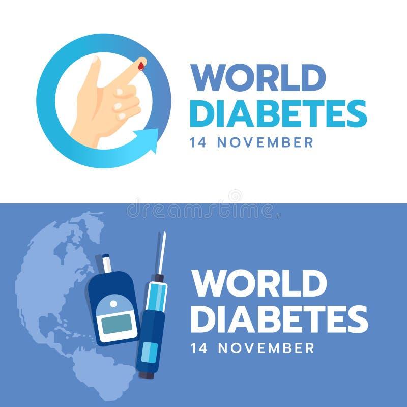 De de Dagbanner van de werelddiabetes met hand en Bloeddaling ondertekent in blauw pijlcirkel en Bloed Sugar Test op blauwe achte stock illustratie