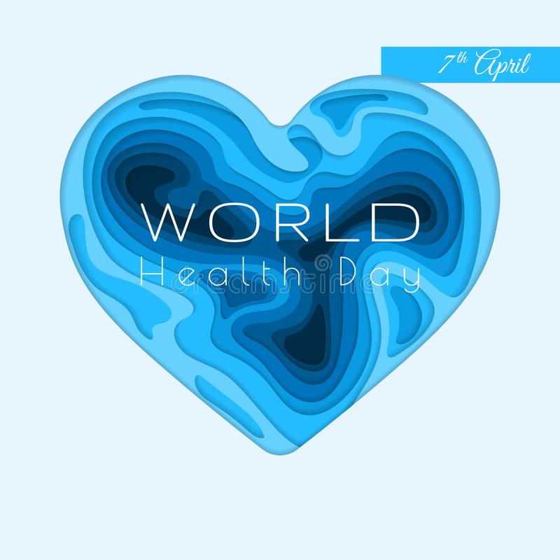 De Dagbanner van de wereldgezondheid Vectordocument besnoeiingsillustratie 3d harthulp van blauwe document gesneden lagen wordt g vector illustratie