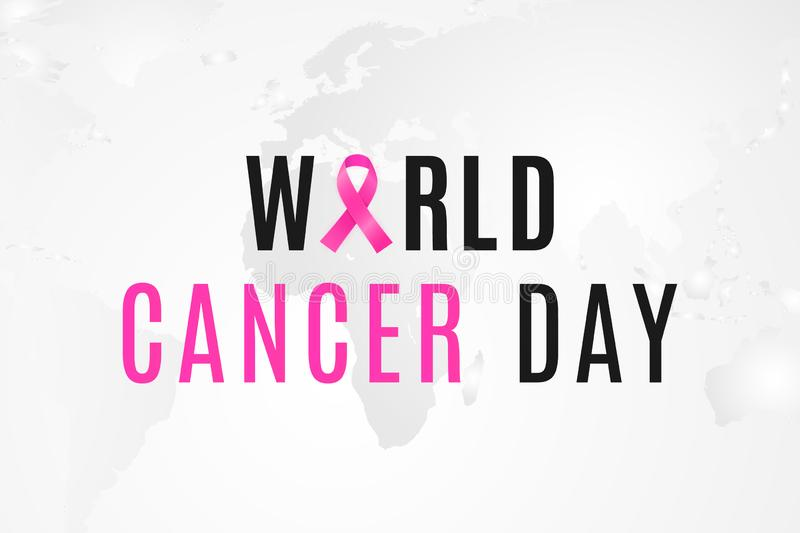 De dagbanner van wereldkanker 4 februari is dag wanneer alle mensen zich tegen de oncologie verenigen royalty-vrije illustratie