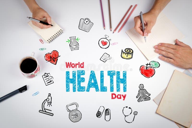 De dagconcept van de wereldgezondheid De achtergrond van de Healtylevensstijl Meeti stock afbeelding