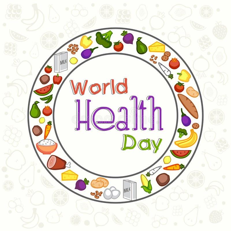 De Dagconcept van de wereldgezondheid met gezond voedsel stock illustratie