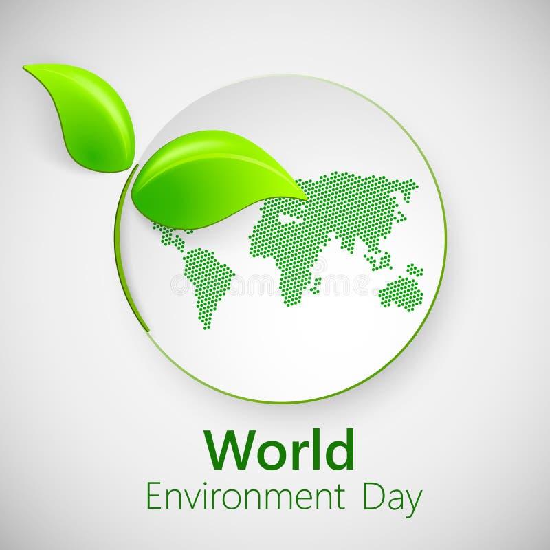 De dagconcept van het wereldmilieu Banner voor de dag van het wereldmilieu met groene bladeren royalty-vrije illustratie