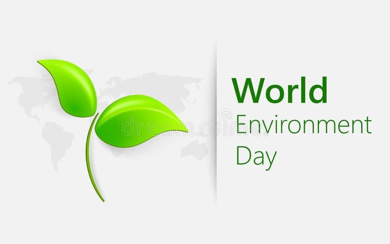De dagconcept van het wereldmilieu Banner voor de dag van het wereldmilieu met groene bladeren vector illustratie