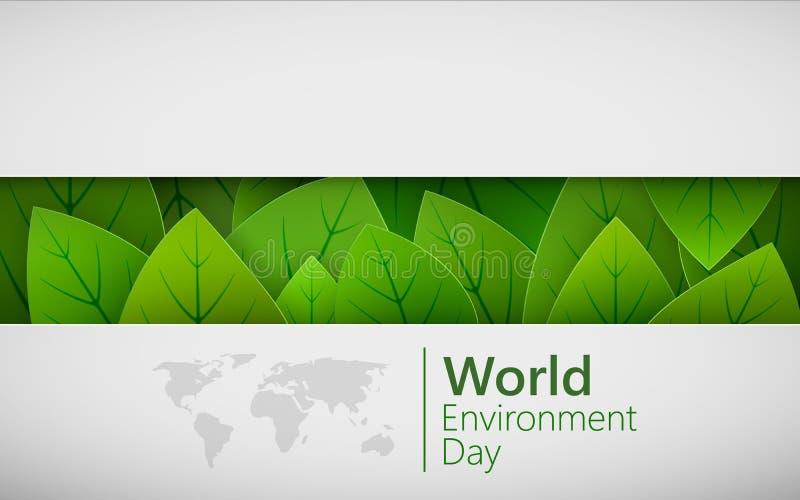 De dagconcept van het wereldmilieu In document gesneden Groene bladerenvormen met schaduw Vector illustratie stock illustratie