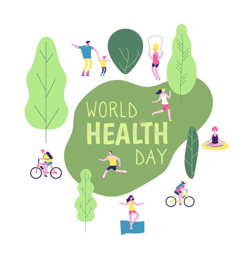 De dagconcept van de wereldgezondheid De gezonde levensstijlman van de het dieetpret van de vrouwengeschiktheid van de de agentge stock illustratie