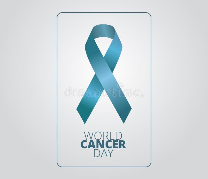 De Dagconcept van wereldkanker Geneeskunde en gezondheidszorgbeeld Editable vectorillustratie in turkoois kleurenlint die op een  stock illustratie