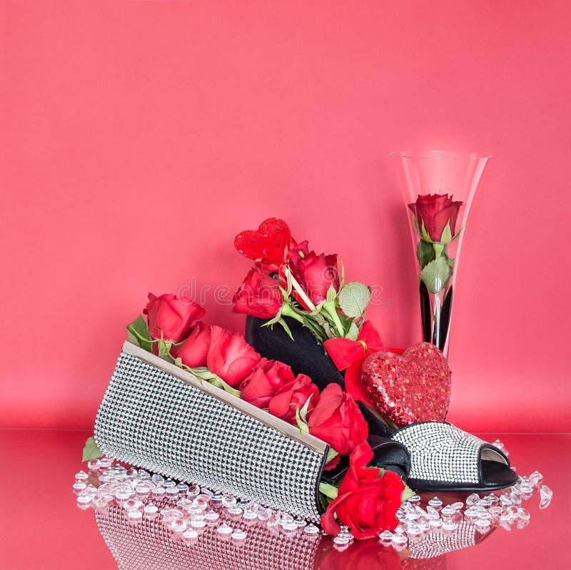 De Dagdecoratie van Diamond Valentine ` s met Beurs en Schoen royalty-vrije stock fotografie