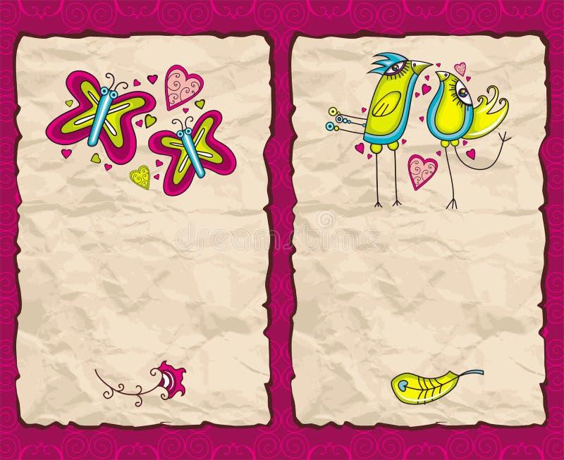 De dagdocument van de valentijnskaart achtergronden royalty-vrije illustratie