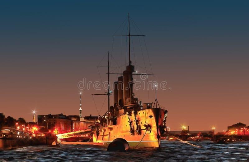 De Dageraadkruiser op een witte nacht stock illustratie