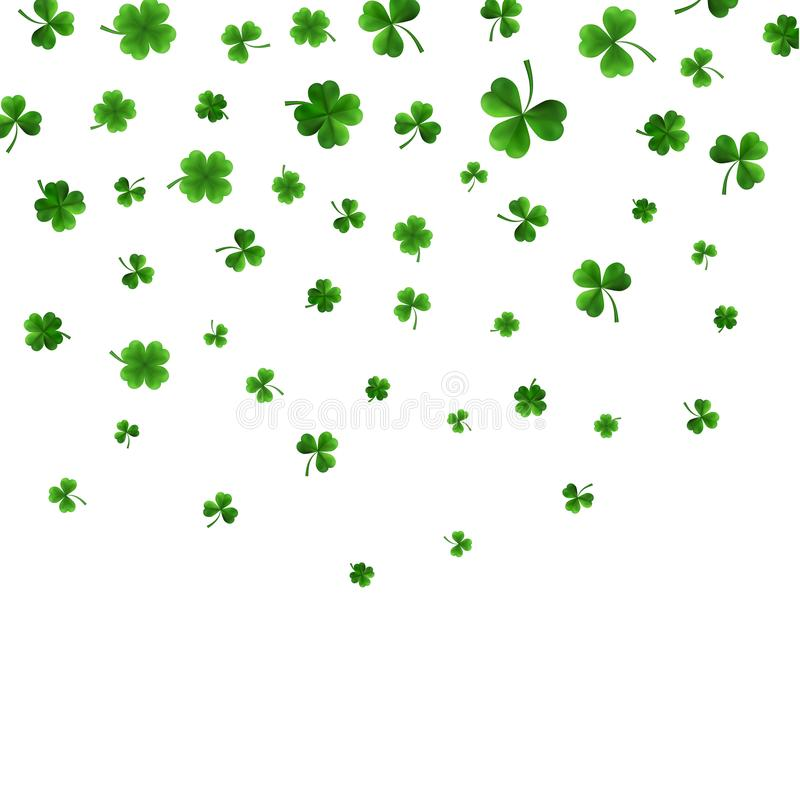 De Daggrens van heilige Patrick met Groene Vier en Klavers van het Boom 3D Blad op Witte Achtergrond Ierse Gelukkige en successym royalty-vrije illustratie