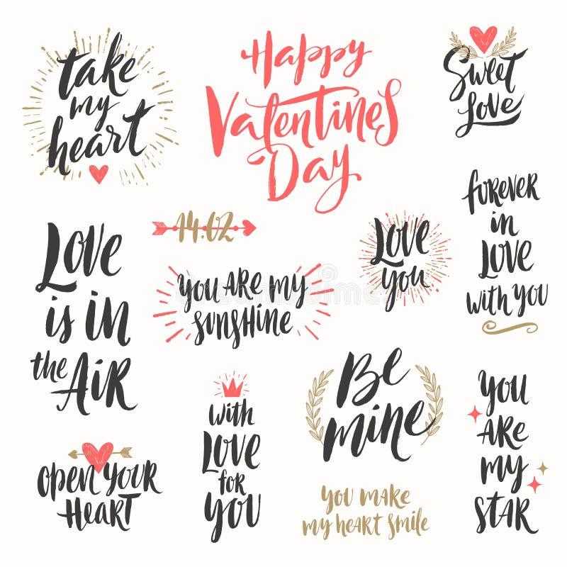 De daghand getrokken reeks van Valentine ` s stock illustratie