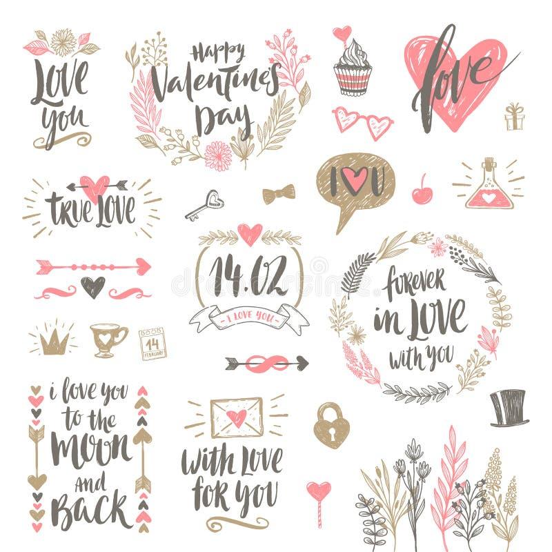 De daghand getrokken reeks van Valentine ` s vector illustratie