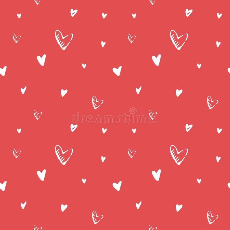 De daghand getrokken zwart-wit vector naadloos patroon van Valentine ` s stock illustratie