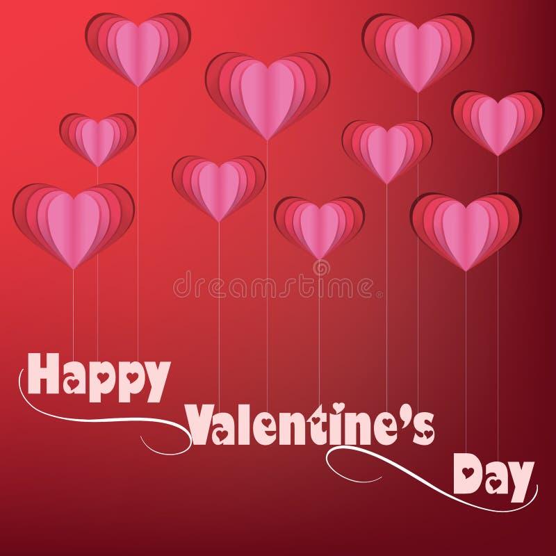 De Daghart Gevormde Ballons van Valentine ` s met lint stock illustratie