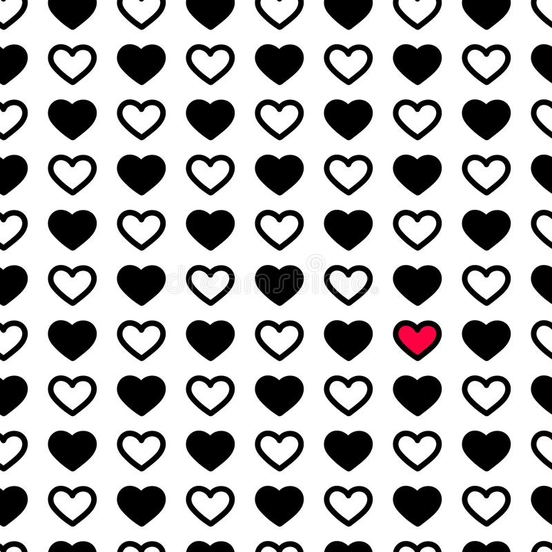 De dagharten van Valentine ` s in zwart-witte kleur, naadloos patroon Zwart-wit vectorillustratie Romantische textuur royalty-vrije stock fotografie