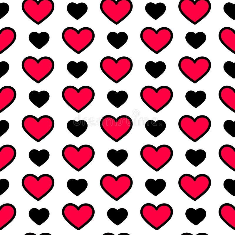 De dagharten van Valentine ` s in zwarte en rode kleur op witte achtergrond, naadloos patroon Vakantie vectorillustratie royalty-vrije stock afbeeldingen