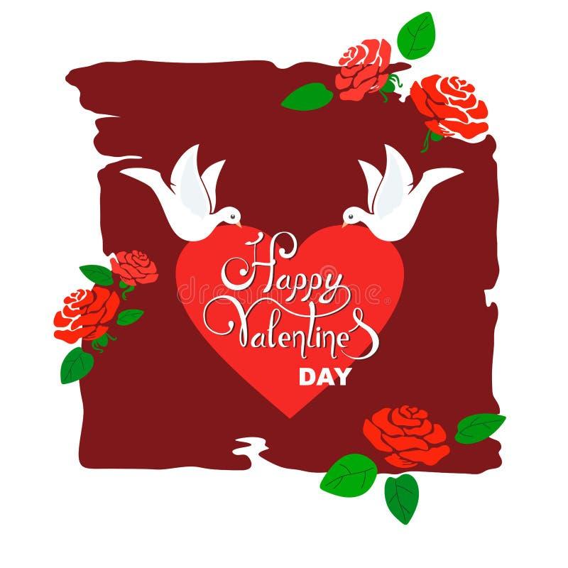 De dagillustratie die van Valentine met gescheurde duiven harten en achtergrond met gestileerde rozen en bladeren dragen royalty-vrije illustratie