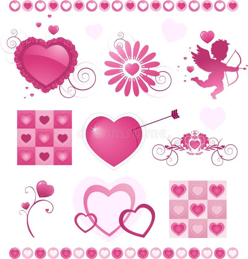 De daginzameling van de valentijnskaart stock illustratie
