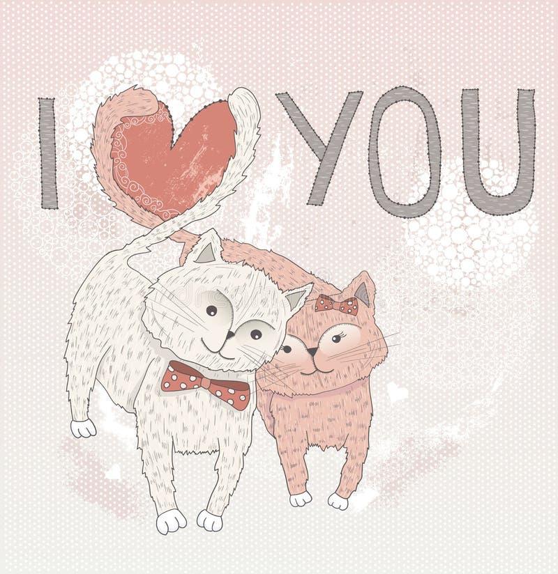 De dagkaart van de valentijnskaart \ 's. Leuke katten in liefde. royalty-vrije illustratie