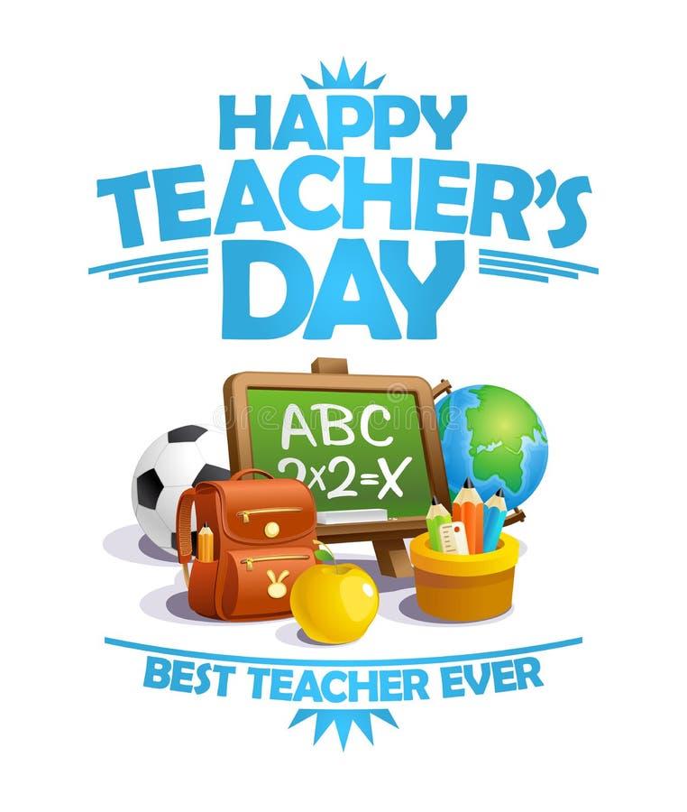 De dagkaart van de gelukkige leraar, beste leraars ooit affiche royalty-vrije illustratie