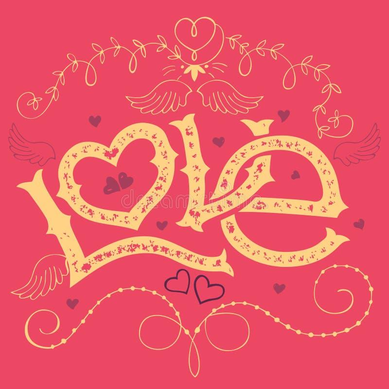 De dagkaart van liefde hand-van letters voorziende Valentijnskaarten royalty-vrije illustratie